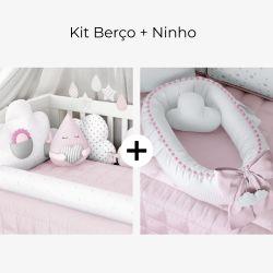 Kit Berço Nuvem de Algodão Rosa + Ninho para Bebê Redutor de Berço Nuvem de Algodão Rosa