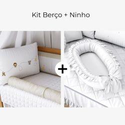 Kit Berço Safári Baby + Ninho para Bebê Redutor de Berço Branco Clássico