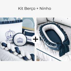 Kit Berço Trança Menino Príncipe Azul Marinho + Ninho para Bebê Redutor de Berço Azul Marinho Clássico