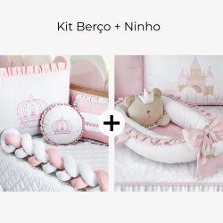 Kit Berço Trança Menina Princesa Rosa + Ninho para Bebê Redutor de Berço Amiguinha Ursa Princesa