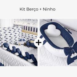 Kit Berço Trança Carrinhos Azul Marinho + Ninho para Bebê Redutor de Berço Pompom Azul Marinho