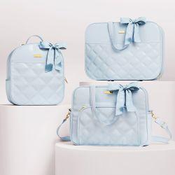 Kit Bolsas Maternidade Azul Luxo 03 Peças