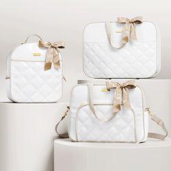 Kit Bolsas Maternidade Branco e Bege Luxo 03 Peças