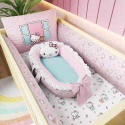 Kit Berço Hello Kitty Rosa + Ninho para Bebê Redutor de Berço Hello Kitty Rosa e Azul