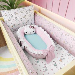 Kit Berço Hello Kitty + Ninho para Bebê Redutor de Berço Hello Kitty Rosa e Azul