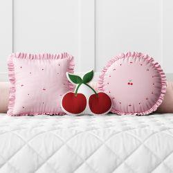 Almofadas Cerejinhas Rosa 3 Peças