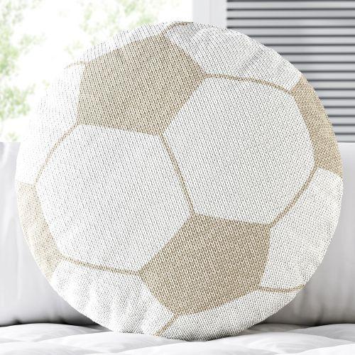 Almofada Redonda Tricot Bola de Futebol Bege
