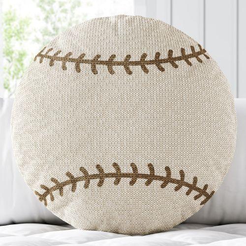 Almofada Redonda Tricot Bola de Beisebol Bege
