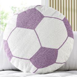 Almofada Redonda Tricot Bola de Futebol Lilás
