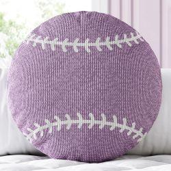 Almofada Redonda Tricot Bola de Beisebol Lilás
