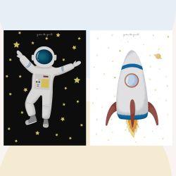 Kit Pôster Adesivo Astronautas 2 peças