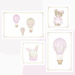 Kit Pôster Adesivo Balões Ursinha Rosa 4 peças