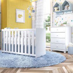 Quarto de Bebê Berço Branco + Colchão e Protetor + Cômoda Liz