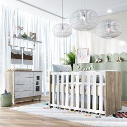 Quarto de Bebê Berço Madeira + Colchão e Protetor + Cômoda com Porta Acrílico Meli