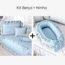 Kit Berço Azul Clássico+ Ninho para Bebê Redutor de Berço Azul Clássico 80cm
