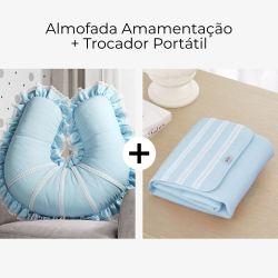 Almofada Amamentação + Trocador de Fraldas Azul Clássico