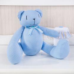 Urso Azul Poá Laços 34cm
