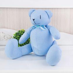 Urso Azul Poá Laços 40cm