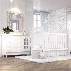 Quarto de Bebê Berço Branco + Colchão e Protetor + Cômoda Julie Provençal