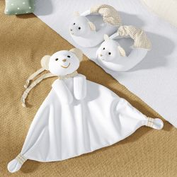 Kit Pantufa e Naninha de Bebê Ursinho Branco, Bege e Xadrez