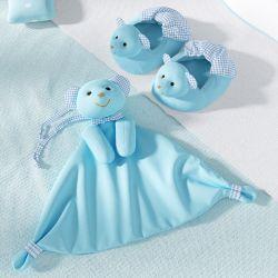 Kit Pantufa e Naninha de Bebê Ursinho Azul e Xadrez
