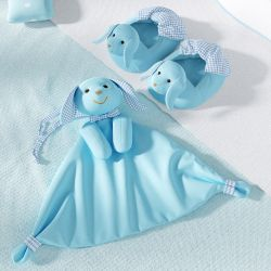 Kit Pantufa e Naninha de Bebê Coelhinho Azul e Xadrez
