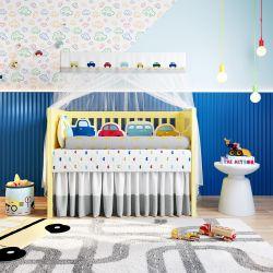Quarto de Bebê Amiguinhos Carrinhos Coloridos 17 Peças