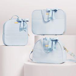 Kit Bolsas Maternidade Clássica Azul 03 Peças