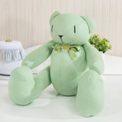 Urso Verde Poá Laços 34cm