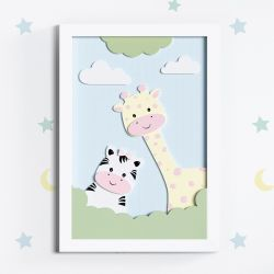 Quadro LED MDF Amiguinhas Zebra e Girafa Rosa 35cm