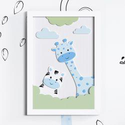 Quadro LED MDF Amiguinhas Zebra e Girafa Azul 35cm