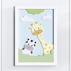 Quadro LED MDF Amiguinhas Zebra e Girafa 35cm
