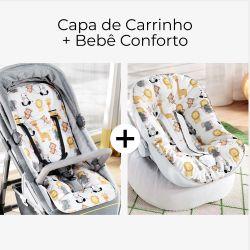 Capa de Carrinho + Capa de Bebê Conforto com Protetor de Cinto Safári Aquarela