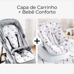 Capa de Carrinho + Capa de Bebê Conforto com Protetor de Cinto Coração Rosa e Cinza