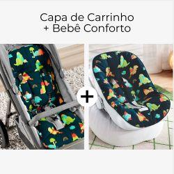 Capa de Carrinho + Capa de Bebê Conforto com Protetor de Cinto Dinossauros Coloridos Preto