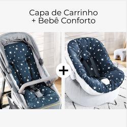 Capa de Carrinho + Capa de Bebê Conforto com Protetor de Cinto Estrelinhas Azul Marinho e Branco