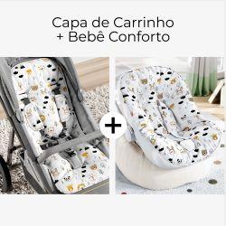 Capa de Carrinho + Capa de Bebê Conforto com Protetor de Cinto Safári Escandinavo