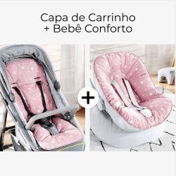 Capa de Carrinho + Capa de Bebê Conforto com Protetor de Cinto Estrelinhas Rosa e Branco