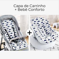 Capa de Carrinho + Capa de Bebê Conforto com Protetor de Cinto Carrinhos Azul Marinho