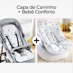 Capa de Carrinho + Capa de Bebê Conforto com Protetor de Cinto Borboletas
