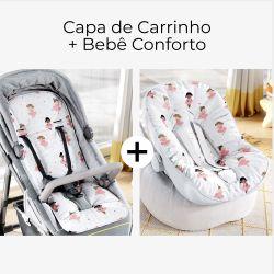 Capa de Carrinho + Capa de Bebê Conforto com Protetor de Cinto Bailarinas Baby
