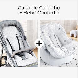 Capa de Carrinho + Capa de Bebê Conforto com Protetor de Cinto Patinhas Safári
