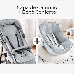 Capa de Carrinho + Capa de Bebê Conforto com Protetor de Cinto Cinza