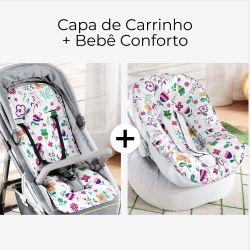 Capa de Carrinho + Capa de Bebê Conforto com Protetor de Cinto Floral Moderna