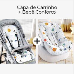 Capa de Carrinho + Capa de Bebê Conforto com Protetor de Cinto Astronautas