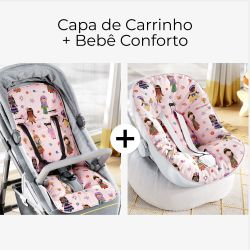 Capa de Carrinho + Capa de Bebê Conforto com Protetor de Cinto Meninas do Mundo