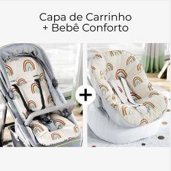 Capa de Carrinho + Capa de Bebê Conforto com Protetor de Cinto Arco-Íris Colorido