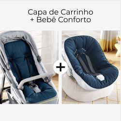 Capa de Carrinho + Capa de Bebê Conforto com Protetor de Cinto Azul Marinho