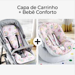 Capa de Carrinho + Capa de Bebê Conforto com Protetor de Cinto Safári Candy