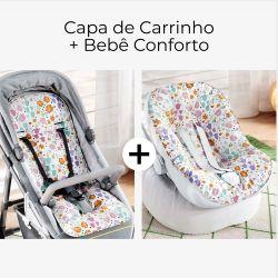 Capa de Carrinho + Capa de Bebê Conforto com Protetor de Cinto Buquê de Flores Colorido